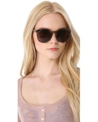 Saint Laurent - Classic Preppy Round Sunglasses - Black/brown Gradient - Lyst