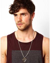 ASOS | Metallic Diamond Necklace for Men | Lyst