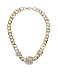 TOPSHOP - Metallic Stone Flower Curb Chain Necklace - Lyst