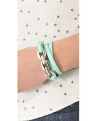 Tory Burch - Green Chain Leather Triple Wrap Bracelet - Lyst