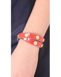 Tory Burch - Red Double Wrap Logo Stud Bracelet - Lyst