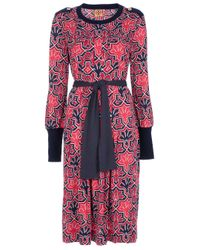 Tory Burch | Brown Ria Floral-Print Boat-Neck Sheath Dress | Lyst