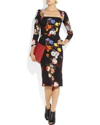 Dolce & Gabbana - Black Rose Print Brocade Dress - Lyst
