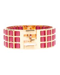 Fendi | Pink Woven Leather Brass Cuff | Lyst