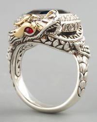 John Hardy - Metallic London Blue Topaz Dragon Ring Small - Lyst