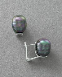 Majorica - Gray Womens 14mm Pearl Earrings Pierced - Lyst