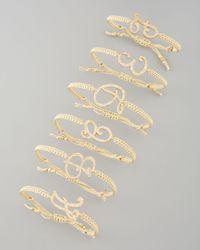 Tai | Metallic Pave Initial Bracelet Golden | Lyst
