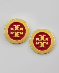 Tory Burch - Metallic Enamelfill Logo Earrings Lobster - Lyst