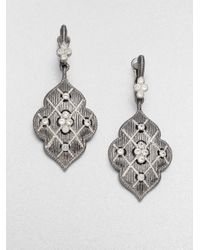 Judith Ripka - Metallic Gothic White Sapphire & Sterling Silver Quilted Drop Earrings - Lyst