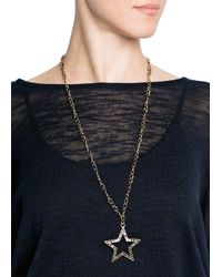 Mango - Metallic Beaded Chain Necklace - Lyst