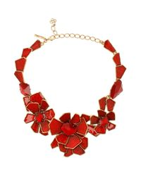 Oscar de la Renta | Red Large Floral Bib Necklace | Lyst