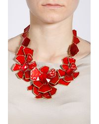 Oscar de la Renta - Red Large Floral Bib Necklace - Lyst