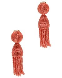 Oscar de la Renta - Red Short Tassle Earrings - Lyst