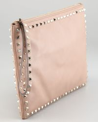 Valentino | Pink Womens Rockstud Leather Clutch Bag | Lyst