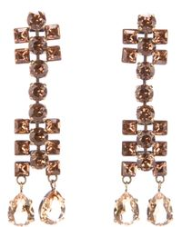 Lanvin | Metallic Crystal Drop Earrings | Lyst