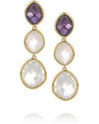 Monica Vinader | Gray Nugget Goldvermeil Multistone Earrings | Lyst