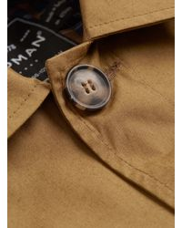 TOPMAN - Brown Stone Poplin Single Breasted Mac for Men - Lyst