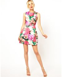 ASOS - Multicolor Structured Floral Tulip Dress - Lyst