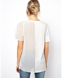ASOS - White Top with Sheer and Solid Jacquard Panels - Lyst