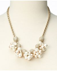 Ann Taylor - White Pearlized Bead and Pave Dangle Necklace - Lyst