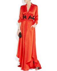 Bottega Veneta - Orange Silk-blend Maxi Dress - Lyst