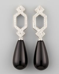 Ivanka Trump | Metallic Short Diamond Crossover Earrings with Black Onyx Drop | Lyst