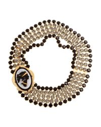 Miu Miu | Metallic Crystal Cameo Necklace | Lyst