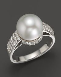 Tara Pearls - 18k White Gold Natural Color White South Sea Cultured Pearl and Diamond Ring - Lyst