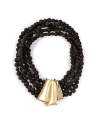 Alexis Bittar - Black Durban Beaded Necklace in Gold - Lyst