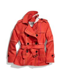 COACH | Red Tattersall Short Trench | Lyst