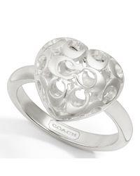 COACH - Metallic Sterling Puffy Miranda Heart Ring - Lyst