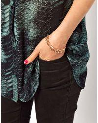 ASOS - Metallic Limited Edition Leaf Chain Bracelet - Lyst