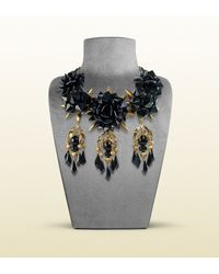 Gucci | Necklace with Black Flowers Motif | Lyst