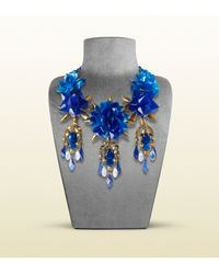 Gucci - Necklace with Blue Flowers Motif - Lyst