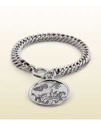 Gucci - Metallic Flora Bracelet In Sterling Silver for Men - Lyst