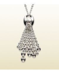 Gucci - Metallic Necklace In Sterling Silver With Tassel And Marina Chain Motif - Lyst