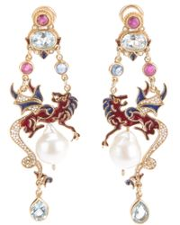 Percossi Papi - Metallic Jewel Dragon Drop Pearl Earrings - Lyst
