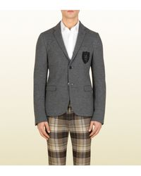 Gucci - Gray Grey Light Jersey Schoolboy Jacket for Men - Lyst
