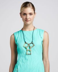 Lafayette 148 New York - Multicolor Bone Wood Resin Square Necklace - Lyst