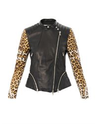 3.1 Phillip Lim - Multicolor Leopardprint Sleeve Leather Biker Jacket - Lyst