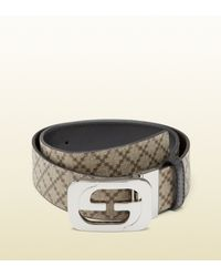 1725a410d73 Lyst - Gucci Reversible Belt with Interlocking G Buckle in Natural ...