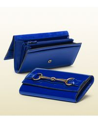 Gucci Blue Sapphire Patent Leather Continental Wallet with Horsebit Detail