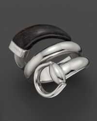 Gucci - Metallic Black Horn Sterling Silver Horsebit Contraire Ring - Lyst