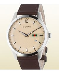 Gucci | Gray G-timeless Slim Stainless Steel And Leather Watch for Men | Lyst