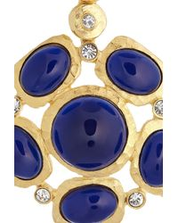 Kenneth Jay Lane - Metallic Goldplated Resin and Crystal Clip Earrings - Lyst
