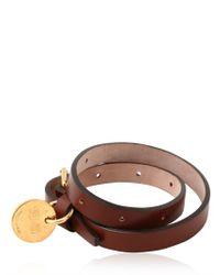 Alexander McQueen - Brown Leather Swarovski Skull Bracelet for Men - Lyst