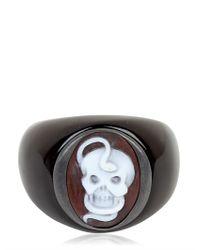 Amedeo | Black Memento Mori Snake & Skull Cameo Ring for Men | Lyst