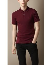 Burberry - Red Check Placket Polo Shirt for Men - Lyst