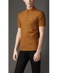Burberry | Brown Doubleweave Piqué Cotton Polo Shirt for Men | Lyst