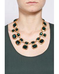 Oscar de la Renta - Green Geometric Crystal Necklace - Lyst